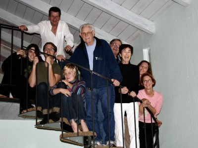 family on staircase