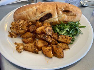 LG House Sandwich & side of Fried Potatoes.